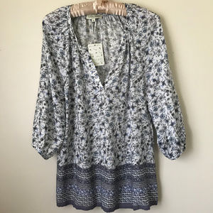 NEW Floral Top Tunic Size M Women Summer Blue